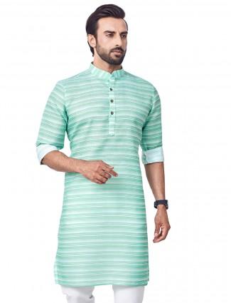 Sea green cotton kurta for festive