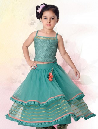 Sea green cotton silk party wear lehenga choli