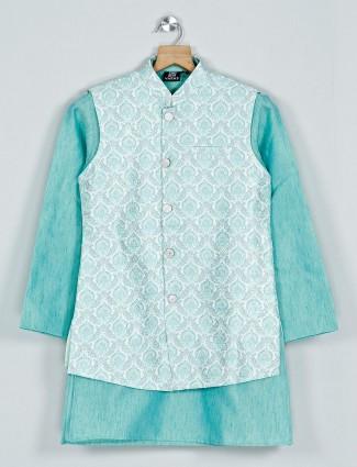 Sea green cotton waistcoat set for boys