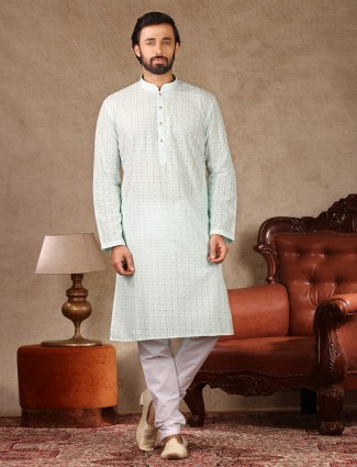 Sea green lakhnavi thread work cotton kurta suit