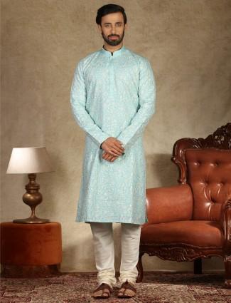 Sea green linen kurta suit festive wear