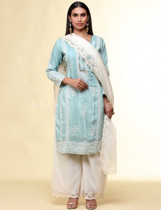 Sea green lovely punjabi palazzo suit in cotton