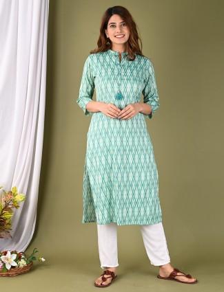 Sea green printed cotton casual wear kurti