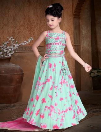 Sea green printed cotton silk lehenga for girls