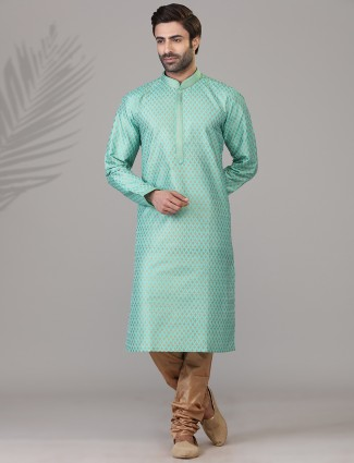 Sea green printed patern cotton silk kurta suit