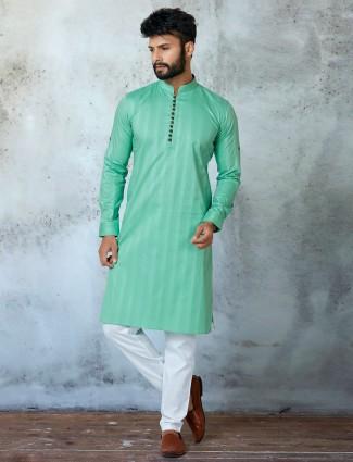 Sea-green shade festive wear kurta with churidar