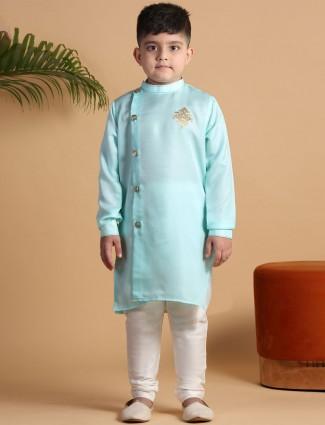 Sea green silk festive wear boys kurta suit