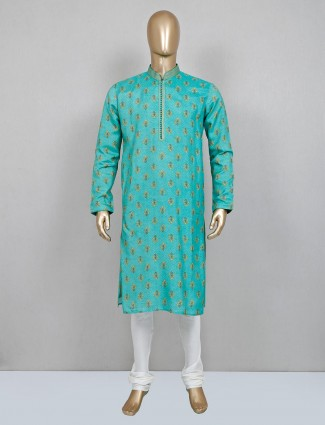 Sea green silk printed festive wear kurta suit