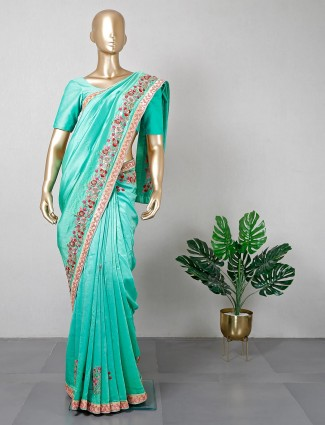 Sea green silk saree for festive