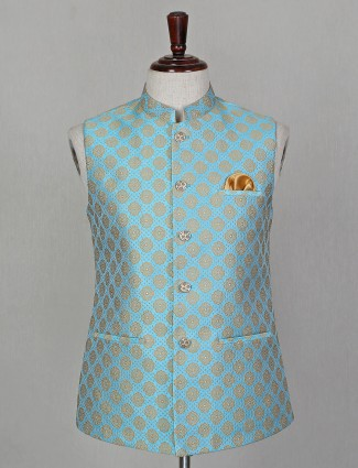 Sea green waistcoat in silk for party occasion