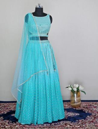 Aqua wedding lehenga choli in raw silk