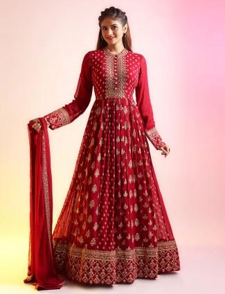 Seductive magenta anarkali style festive wear salwar suit