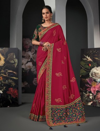 Seductive maroon colored silk saree for women