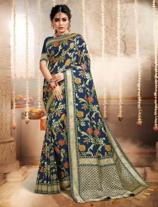 Charming navy colour banarasi silk saree for women