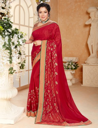 Fashionable red georgette printed saree