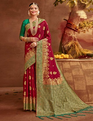 Seductive maroon colored banarasi silk saree for women