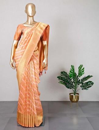 Semi silk peach saree for wedding with readymade blouse