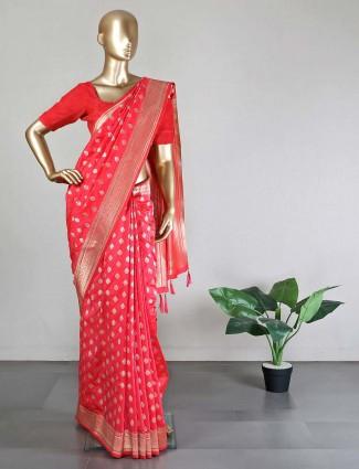Semi silk Pink wedding wear saree
