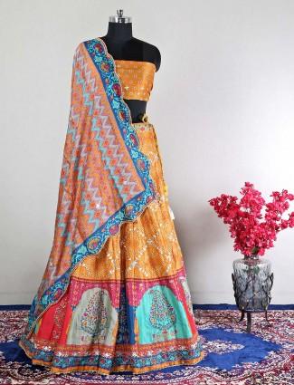 Semi-stitched mustard yellow silk wedding wear lehenga choli
