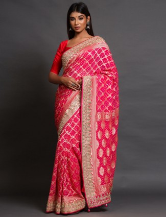 Shaded Pink Heavy Banarasi Silk Saree