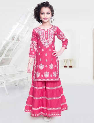 Sharara suit in pink tint for little girls