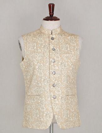 Silk beige printed green waistcoat