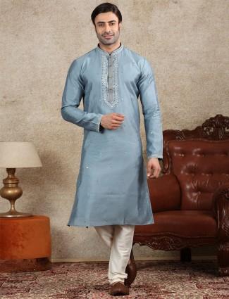 Silk blue full sleeve kurta suit