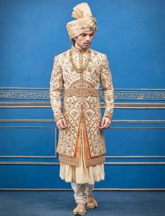 Silk cream designer layer style indian wedding sherwani