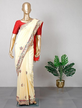 Silk cream saree for women