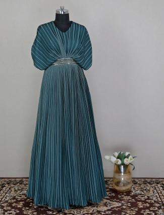 Silk dark green printed wedding event gown