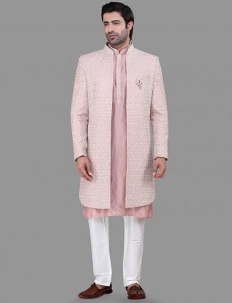 Silk dusty pink mens indo western