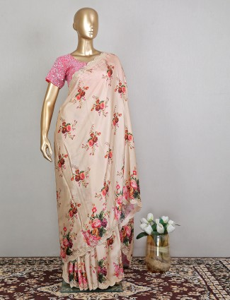 Silk printed peach wedding event saree with ready made blouse