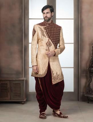 Silk fabric beige hue wedding wear indo western