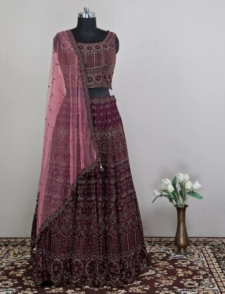 Silk fabulous purple wedding wear lehenga choli