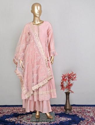 Silk festive wear peach palazzo suit