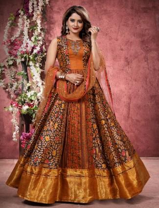 Silk floor length anarkali salwar suit in cocoa brown color