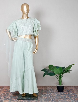 Silk green beautiful palazzo suit for wedding