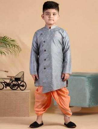 Silk grey and peach full sleeve kurta suit for boys