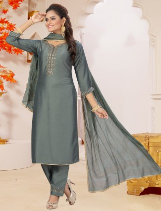 Silk grey solid punjabi style pant suit for casual