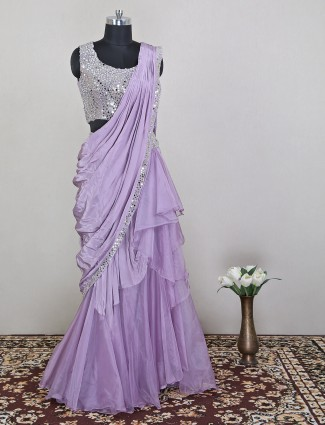 Silk lehenga in lavender purple color