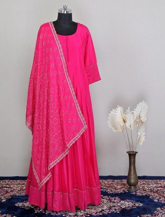 Silk magenta anarkali suit for wedding wear