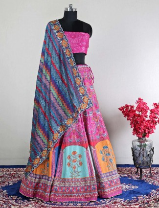 Silk magenta semi-stitched wedding wear lehenga choli