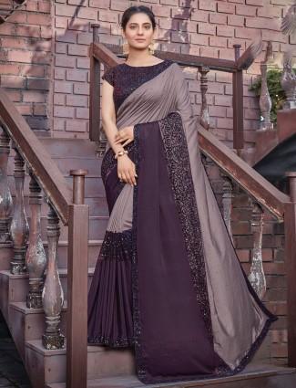 Silk mauve purple wedding occasions saree for gorgeous lady