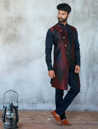 Silk multicolor full sleeve kurta suit