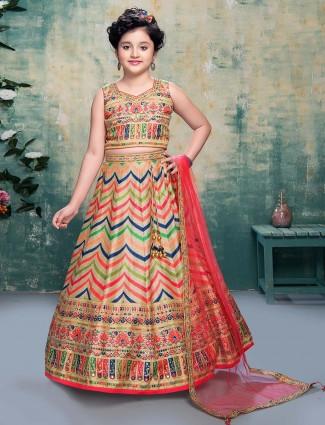 Silk party wear beige lehenga choli for girls