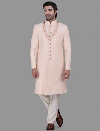 Silk peach mens indo western for wedding