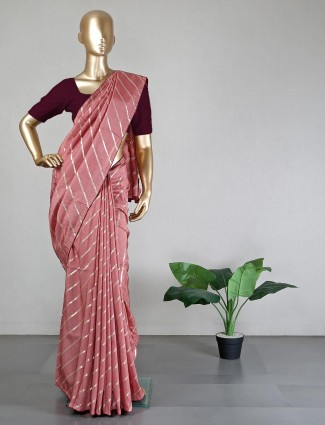 Silk peach saree for wedding days