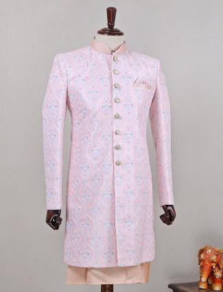 Silk pink indo western for men