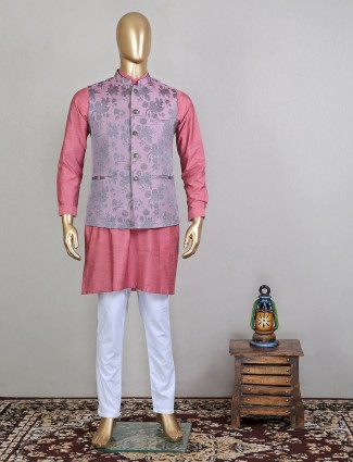 Silk pink printed waistcoat set in party function