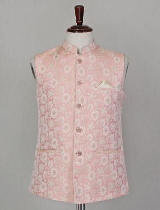 Silk pink sleeveless design waistcoat